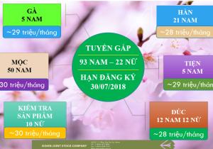Tuyển dụng Thực tập sinh Nhật Bản T7-8-9/2018: Ngành nghề đa dạng, thu nhập cao, xuất cảnh sớm !!!